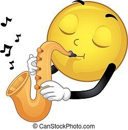 smiley, saxophone, illustration, mascotte