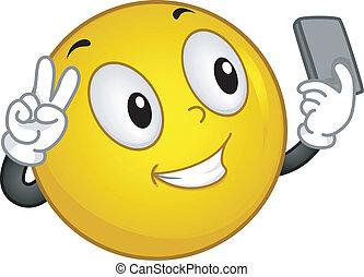 Smiley Selfie - Illustration of a Smiley Taking a Selfie