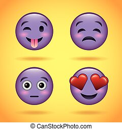 smiley set purple face with emotions facial expression funny cartoon character