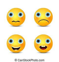 Smiley set, smiling emoticon. Yellow face with emotions. Facial expression.