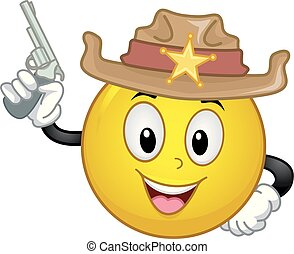 Smiley Sheriff Gun Illustration