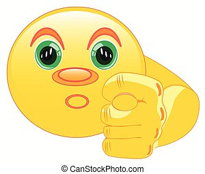 Smiley shows fig - Round smiley shows gesture a finger fig