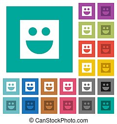 Smiley square flat multi colored icons