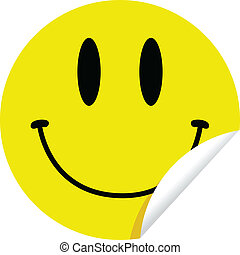 Smiley Sticker - A bright yellow sticker with a face smiley...