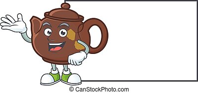Smiley teapot with whiteboard cartoon character design