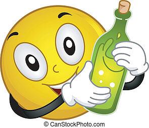 smiley, tenendo bottiglia, vino
