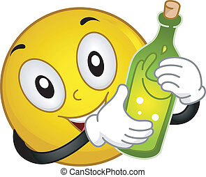 smiley, teniendo botella, vino