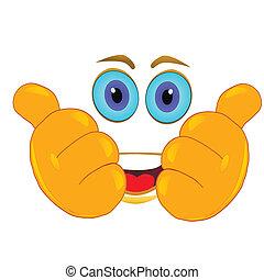smiley, tommelfingre oppe