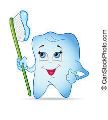 Smiley tooth with toothbrush. Vector illustration.
