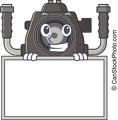 Smiley underwater camera cartoon character style bring board