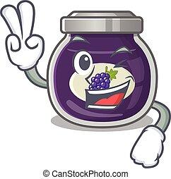 smiley, uva, caricatura, dedos, dois, geleia, personagem, mascote