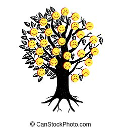 Smiley. Vector happy face. A tree festooned with happy and sad emojis. Likes on social networks.