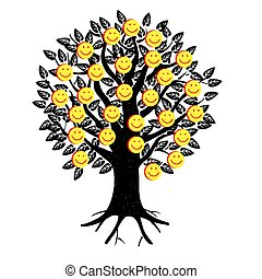 Smiley. Vector happy face. A tree festooned with happy emojis. Likes on social networks.
