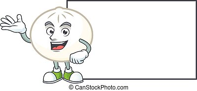 Smiley white hoppang with whiteboard cartoon character design