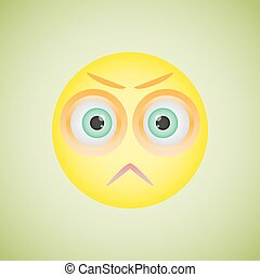 Smiley with angry emotion. Vector illustration eps10