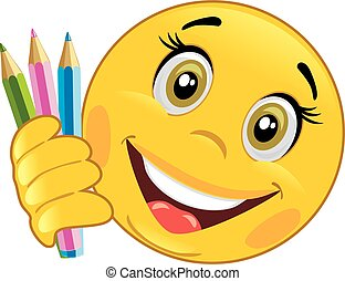 Smiley with colored pencils