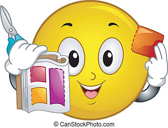 Illustration of Smiley Holding a Magazine and Scissors on one hand and a Discount Coupon on the other hand