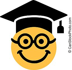 Smiley with glasses and graduation hat