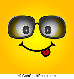 smiley with sunglasses cartoon illustration