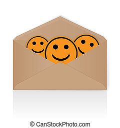Smiley yellow envelope - vector