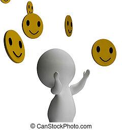 smileys, χαμογελαστά , και , 3d , χαρακτήρας , εκδήλωση , ευτυχία