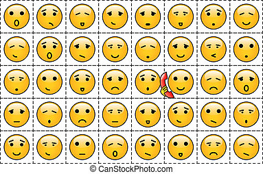 Smileys - A set of yellow smileys with different faces