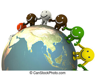 Group of smileys located around the globe. Concept render
