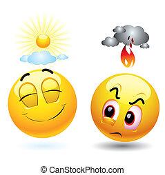 Smileys - Angry and satisfied smiling ball