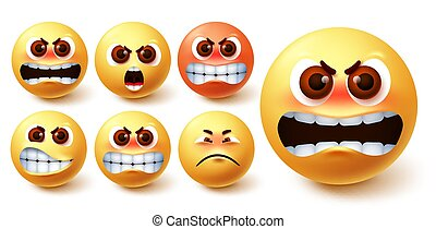 Smileys angry emoji vector set. Emoji smileys in yellow face with different facial expression