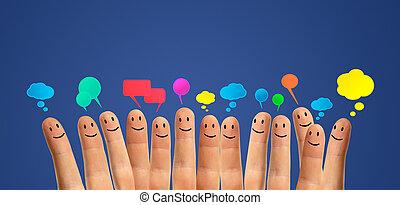smileys, comunicare, dito