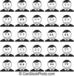 smileys, conjunto, negro, contorno, oficina