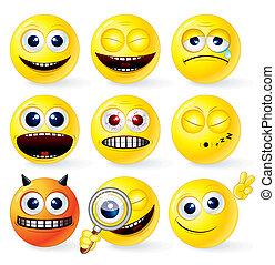 smileys, dessin animé, jaune