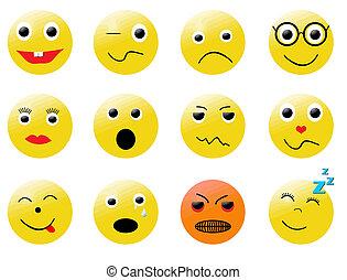 smileys, différent, émotions