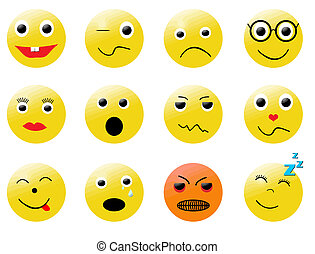 smileys different emotions - Collection of vector smilies...