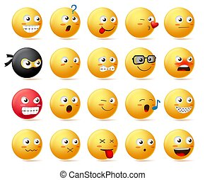Smileys emoji faces vector character set. Smiley emoticon with yellow face in side view.