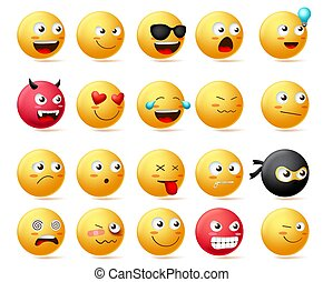 Smileys emoji faces vector set. Smiley emoticons with side view faces character.