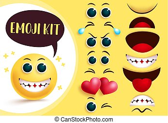 Smileys emoji vector creation kit. Emoticon and emoji yellow face with editable eyes and mouth and happy facial expression.