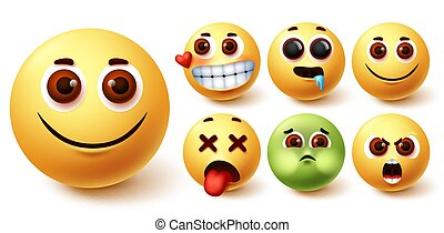 Smileys emoji vector set. Smiley emojis cute yellow face in happy, in love, hungry