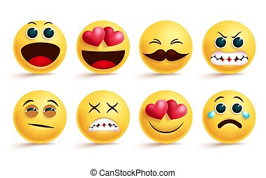Smileys emoji vector set. Smiley yellow face emojis and emoticons with different facial expressions like sleepy, angry, crying and in love isolated.