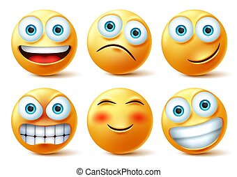 Smileys emojis and emoticons face vector set. Smiley emoji cute faces