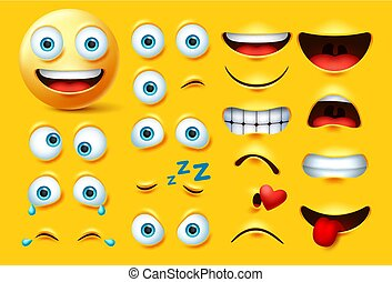 Smileys emoticon character creation vector set. Smiley emoji face kit eyes and mouth in angry, crazy, crying, naughty, kissing and laughing expression.