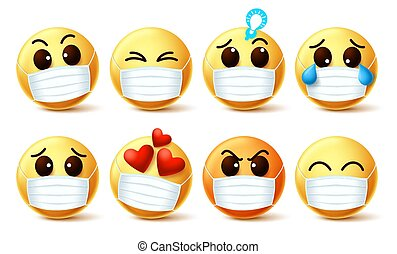 Smileys emoticon wearing face mask vector set. Smiley emoji wearing face mask with facial emotions for the prevention of covid-19 coronavirus viral infection. Vector illustration.