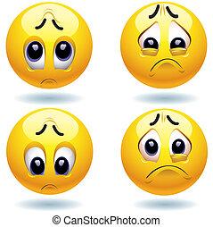 Smileys - Four sad smiling balls watching at you