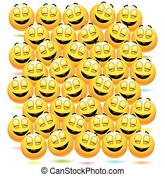 Smileys - Numerous happy smiling balls as audience