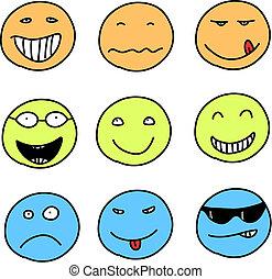 Smileys Ihr Kugeln Smiley Arbeitende Edv