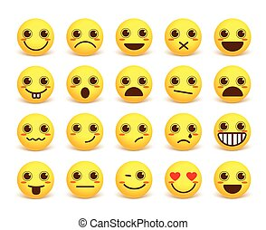 Smileys face cute vector emoticon set