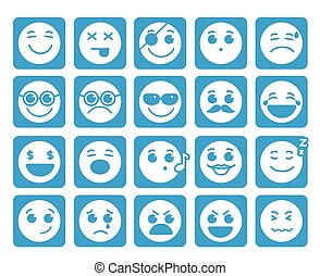 Smileys faces vector icons in flat button