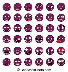Smileys funny funny violet vector EPS 10 set