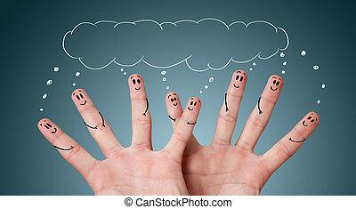 smileys, gruppo, dito, felice
