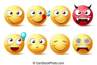 Smileys icon vector set. Smiley faces and emoticons happy, hungry, naughty